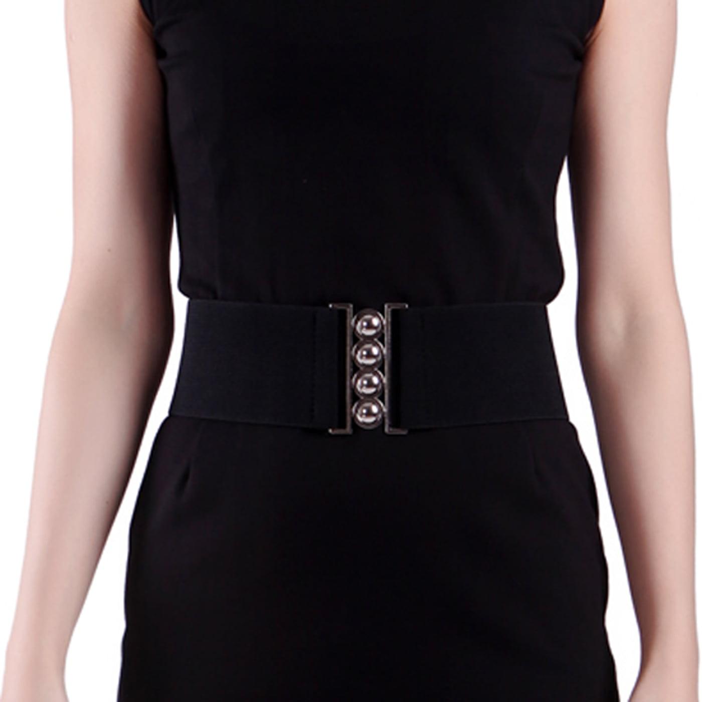 Womens Stretch Elastic Waist Belt Buckle Plus Size Casual Trousers Waistband