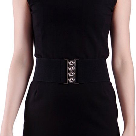 Women's Fashion Elastic Cinch Belt 3 Wide Stretch Waist Band Clasp Buckle (Black, L-XXL) Designer Star Belt Buckle