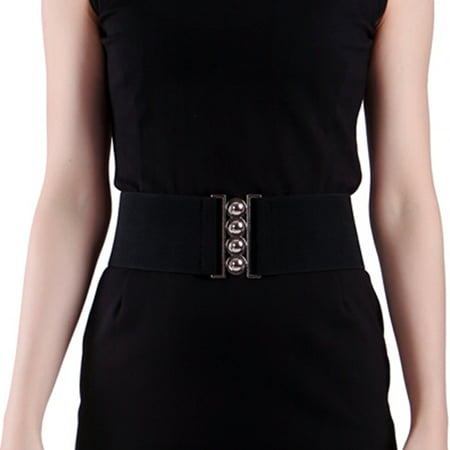 Women's Fashion Elastic Cinch Belt 3 Wide Stretch Waist Band Clasp Buckle (Black, (Leather Waist Cinch Belt)
