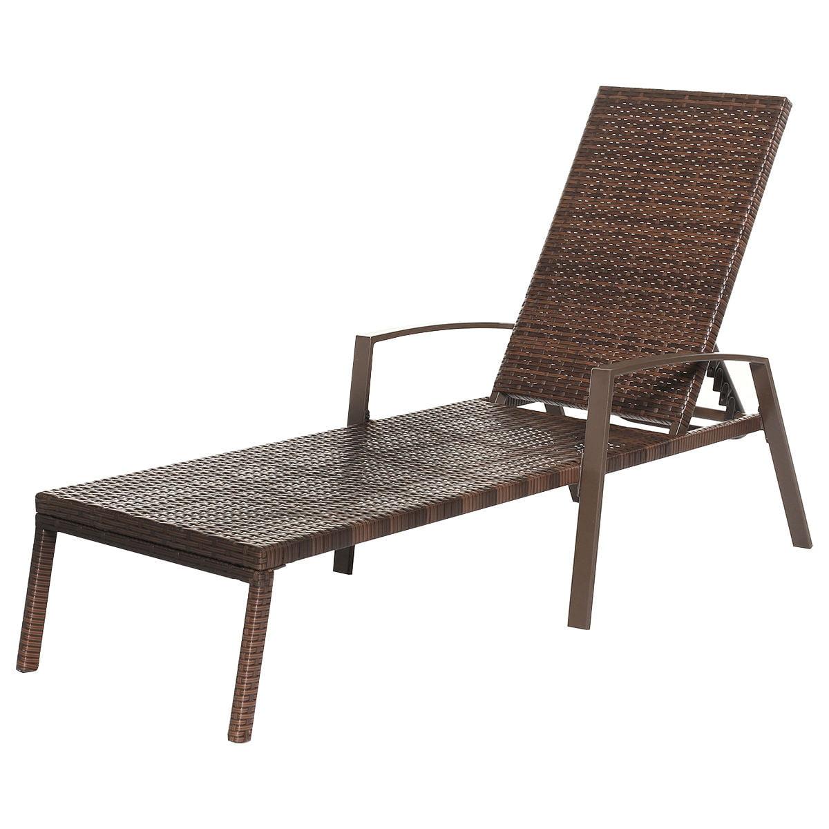 2pcs Patio Rattan Lounge Chair Garden Furniture Adjustable Back W/ Cushion - image 5 of 10