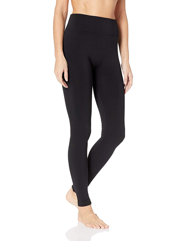 10-12 US Leggings Women/'s HUE Color Black Brushed Seamless Size M//L