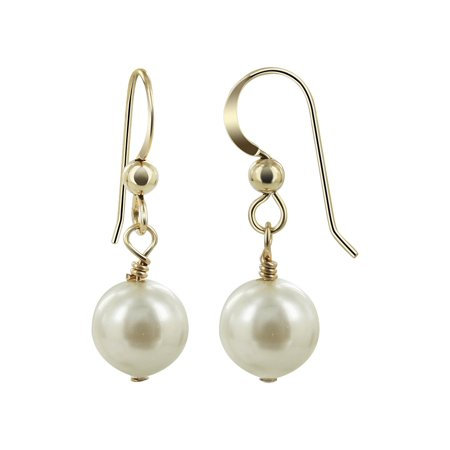 Gem Avenue Gold filled 8mm White Freshwater Pearl Handmade Drop Earrings Made with Swarovski Elements