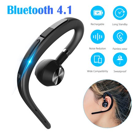 Bluetooth Headset, EEEKit Wireless Bluetooth 4.1 Earpiece Headphones Earphones Ear Hooks with Noise Cancelling Mic for Business/Office/Driving/Truck Support iPhone/Android Cell (The Best Bluetooth Headphones For Cell Phones)