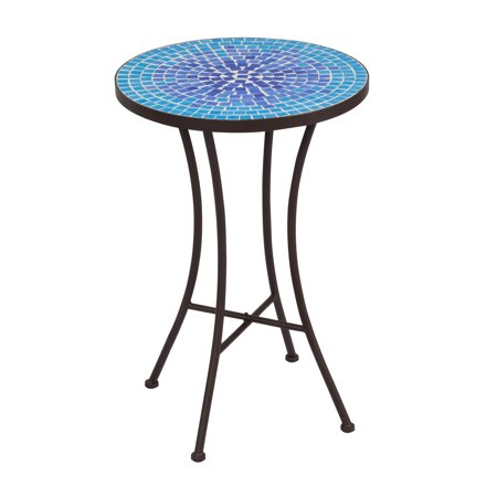 Mosaic Side Table-- Blue Mini Cobble Pattern