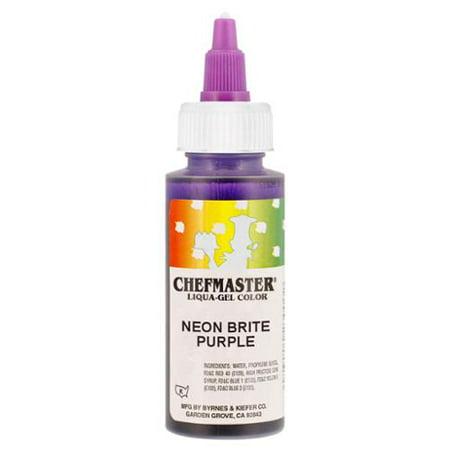Chefmaster by US Cake Supply 2.3oz Neon Brite Purple Liqua-Gel Cake Food Color](Purple Food Coloring)