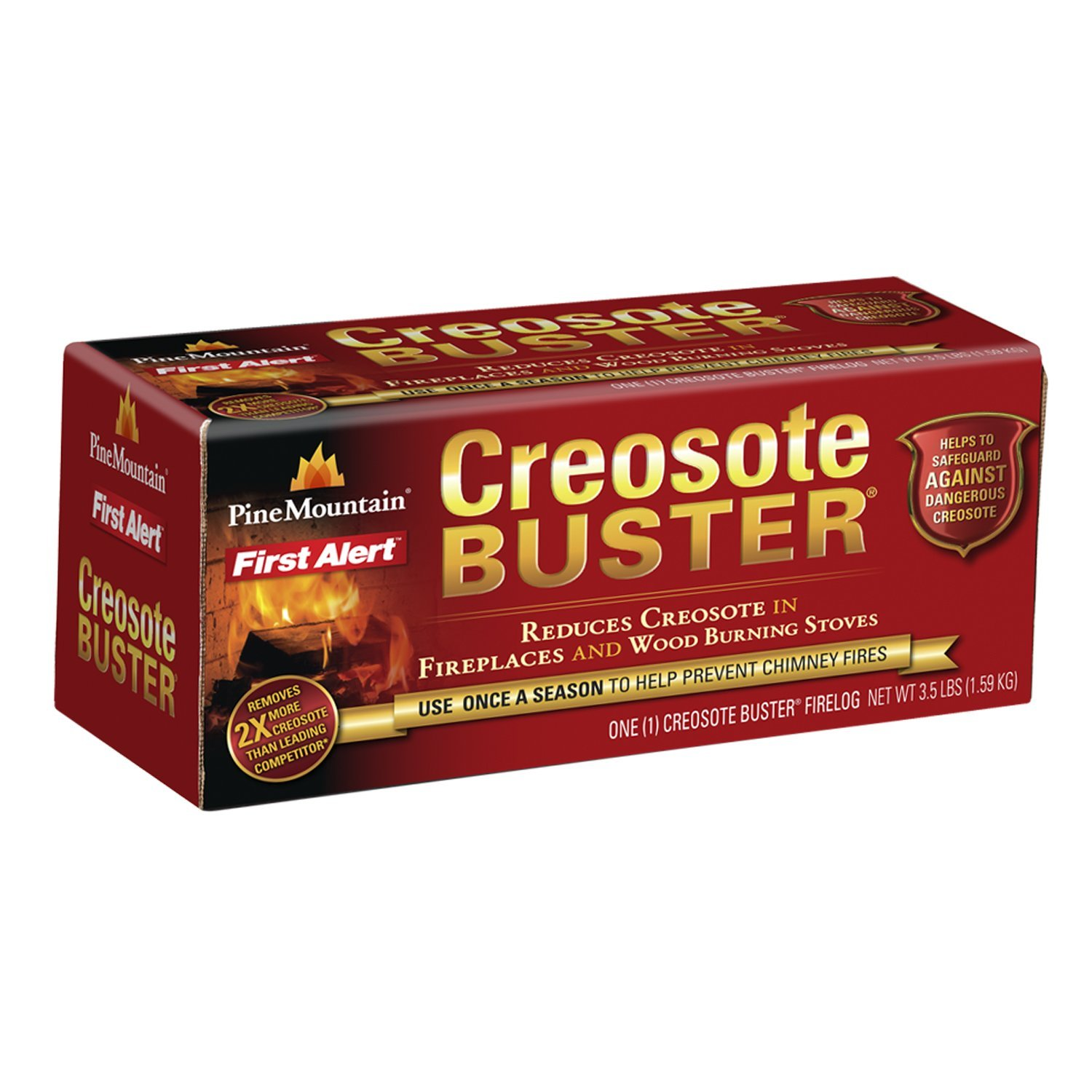 4152501500 Creosote Buster Chimney Cleaning Safety Firelog, 1 Log, Simple to use: just add to an existing fire By Pine Mountain