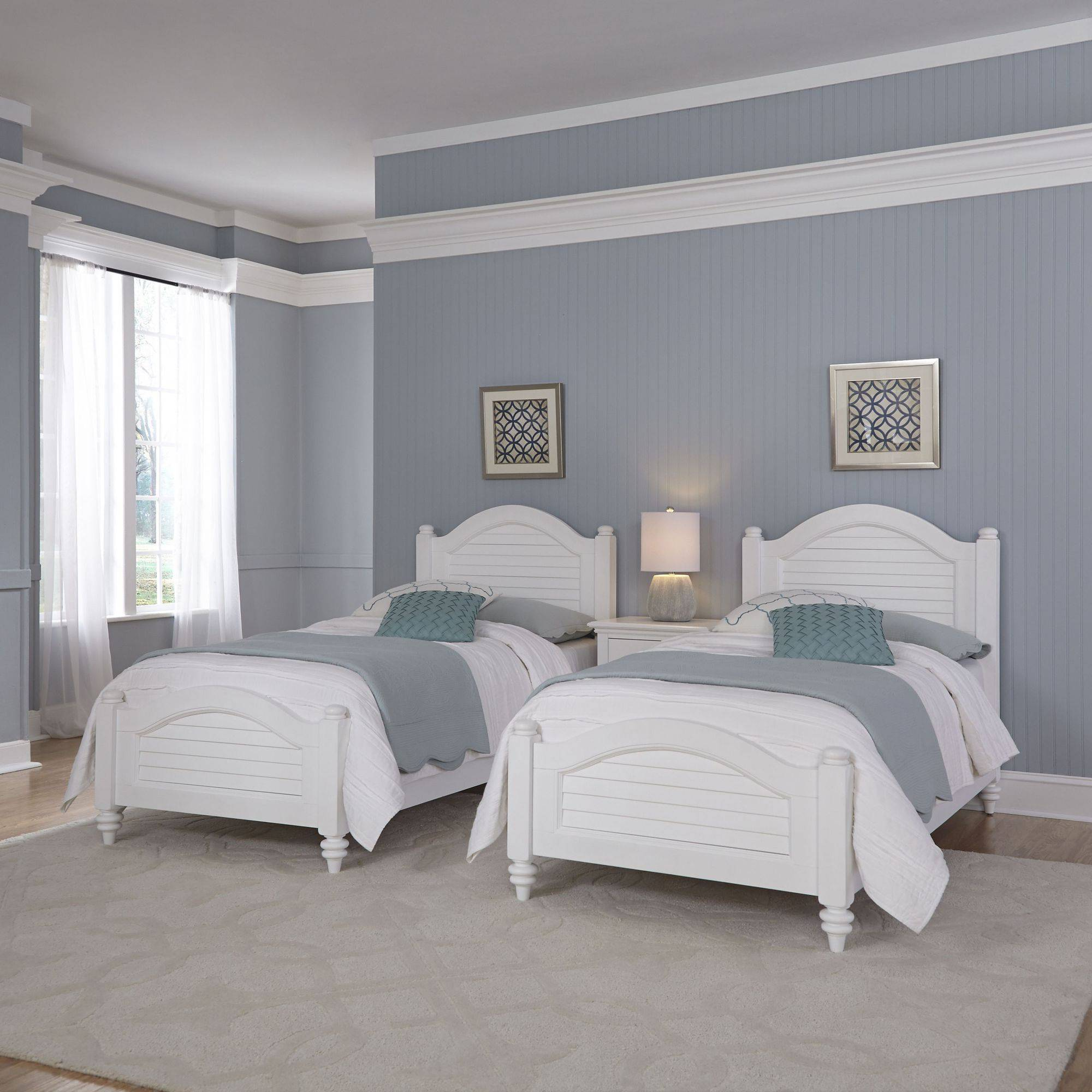 Home Styles Furniture Bermuda White 2 Twin Beds and Night Stand