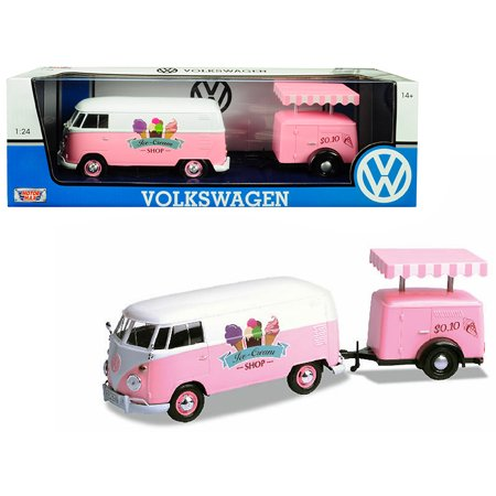 Volkswagen T1 Delivery Van with Ice-Cream Trailer Pink and White