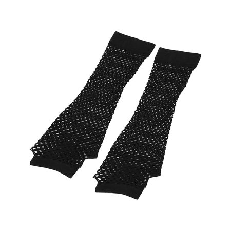 Women's Elbow Length Elastic Fishnet Fingerless Arm Warmers Gloves Pair - Fishnet Gloves Fingerless