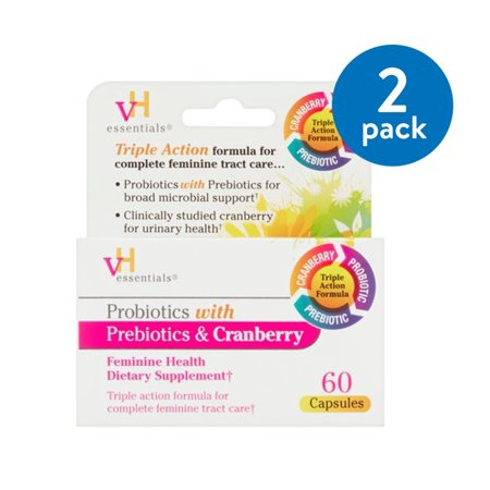 vH Essentials Probiotics with Prebiotics & Cranberry Feminine Health Capsules, 60 Ct (Pack of (Vh Essentials Probiotics With Prebiotics & Cranberry Reviews)