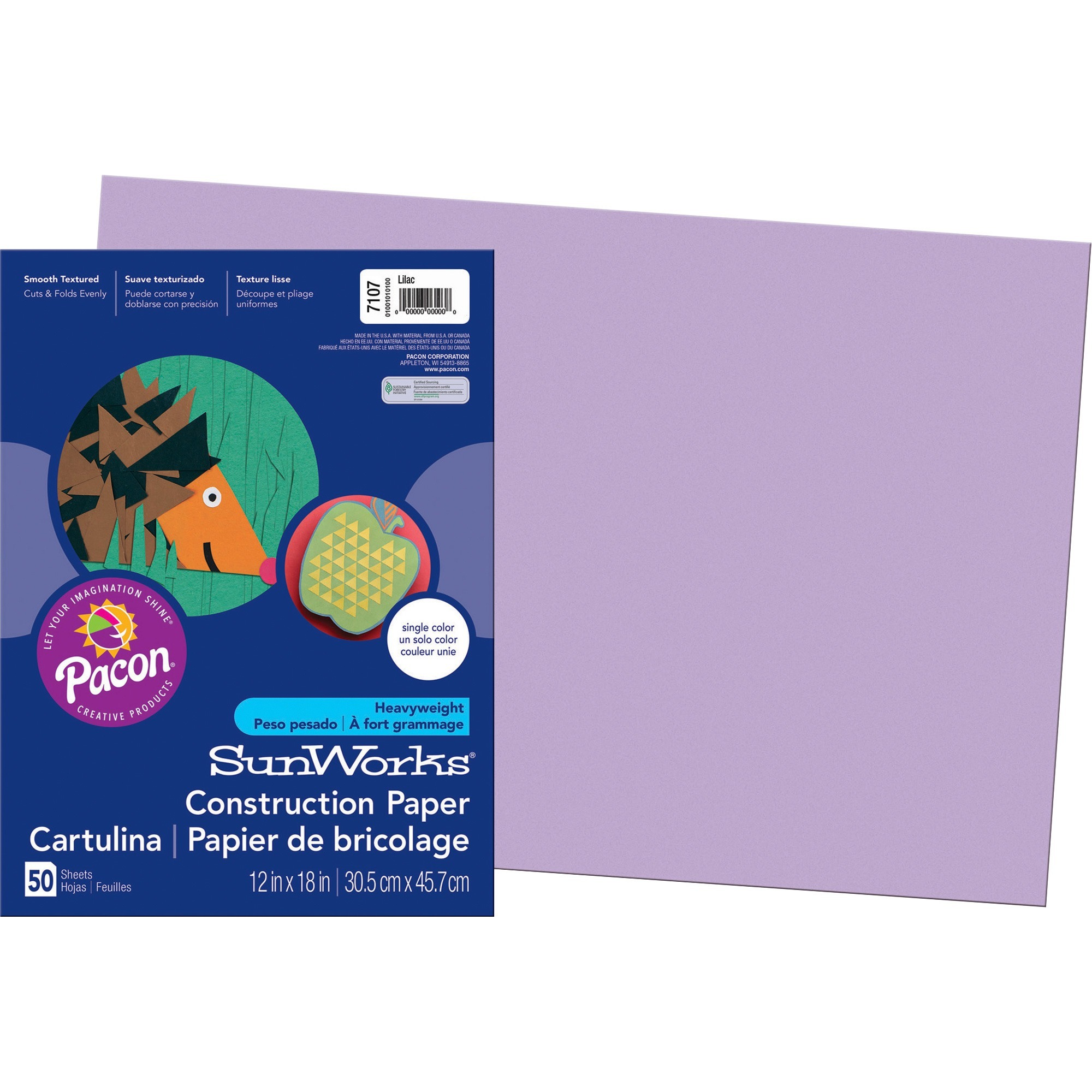 SunWorks, PAC7107, Construction Paper, 50 / Pack, Lilac