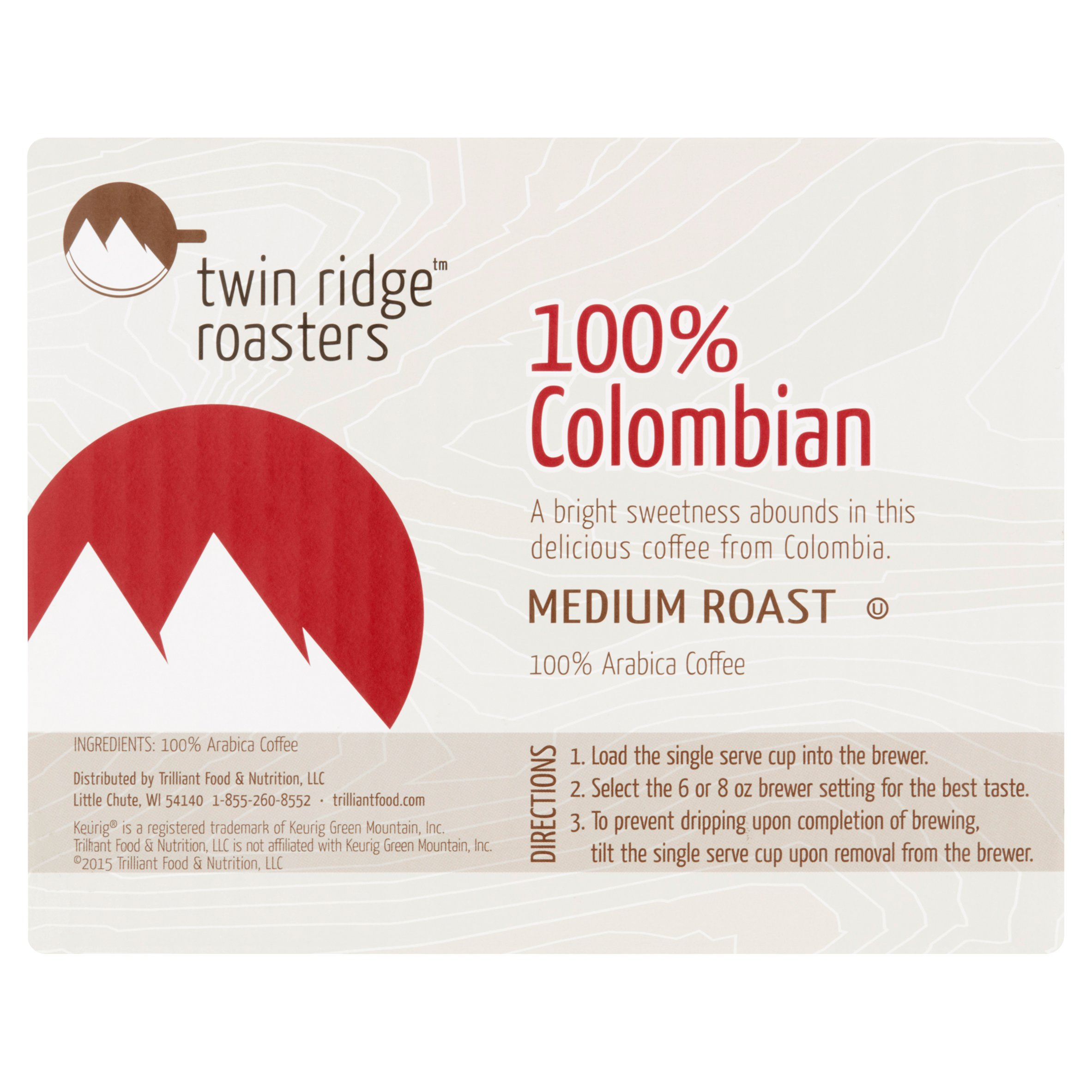 Twin Ridge Roasters Medium Roast 100% Colombian Coffee Single Serve ...