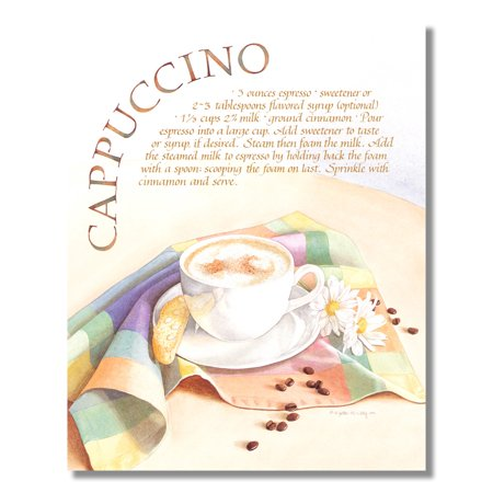 Cappuccino Recipe Coffee Kitchen Cafe Diner Wall Picture 8x10 Art Print