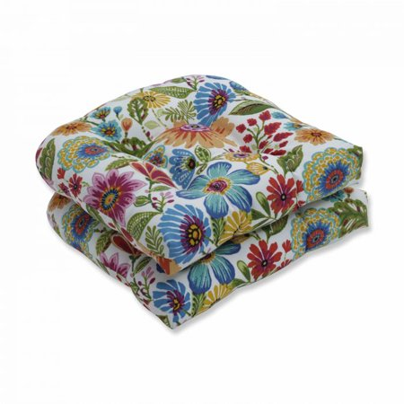 Colored Seat - Set of 2 Vibrantly Colored Floral Pattern Outdoor Patio Wicker Seat Cushions 19