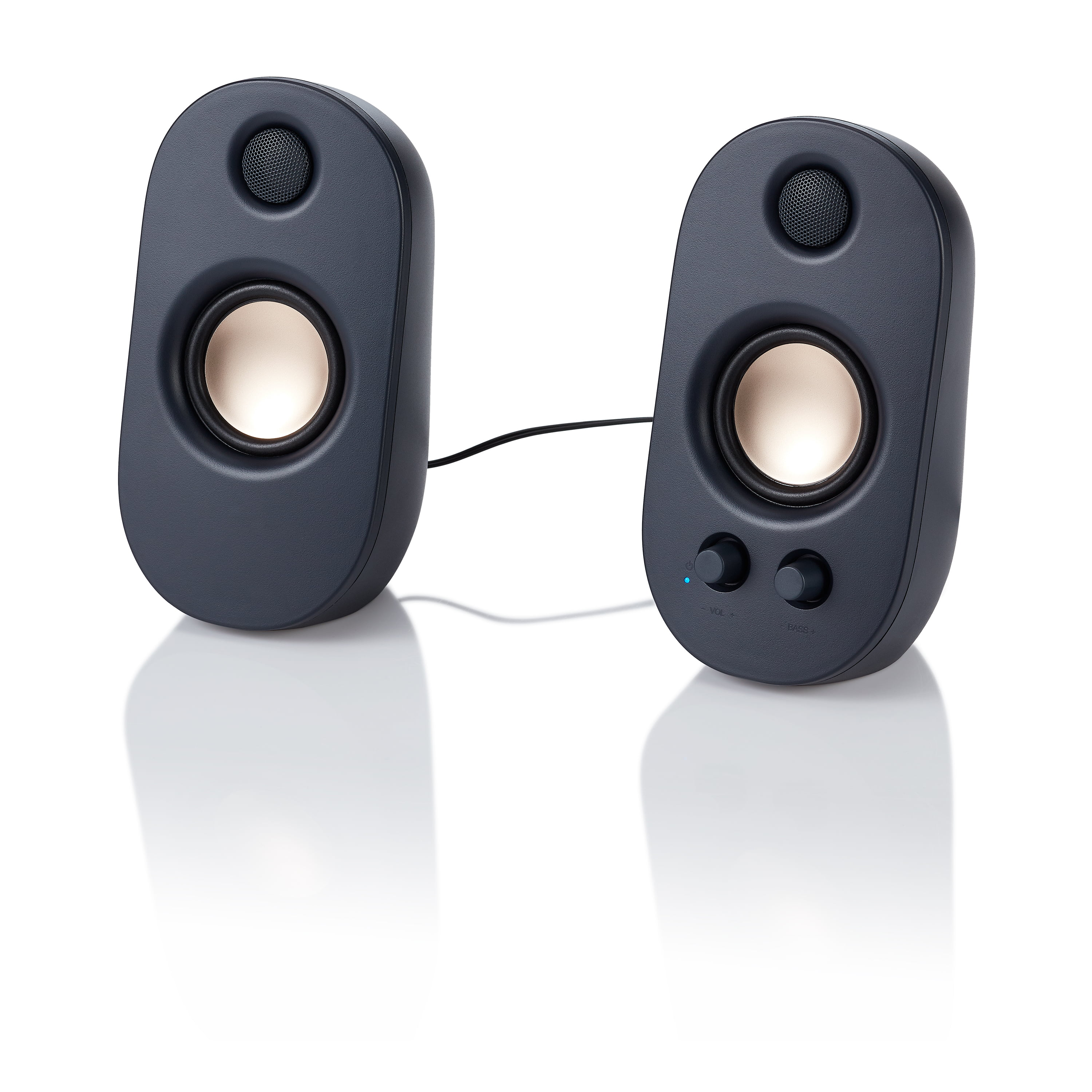 Onn. AC Powered Computer Speakers with Volume and Bass Controls