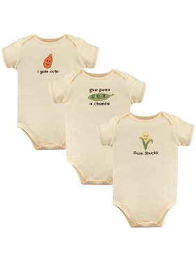 Touched by Nature Short Sleeve Bodysuits, 3pk (Baby Boys or Baby Girls, Unisex)