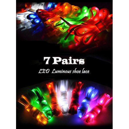 IClover [ 7 Pairs ] Nylon Running Safety LED Shoelaces Luminous Flashing Rave Party Strap Shoe Laces for Halloween Party Dancing Running Cycling Hiking with 4 Flashing - Flashing Shoelaces