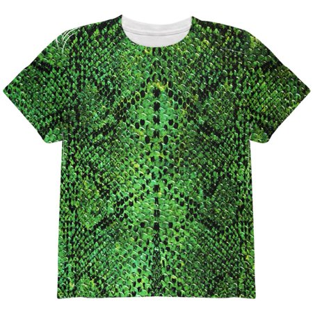 Halloween Green Snake Snakeskin Costume All Over Youth T Shirt](Snake Costume)