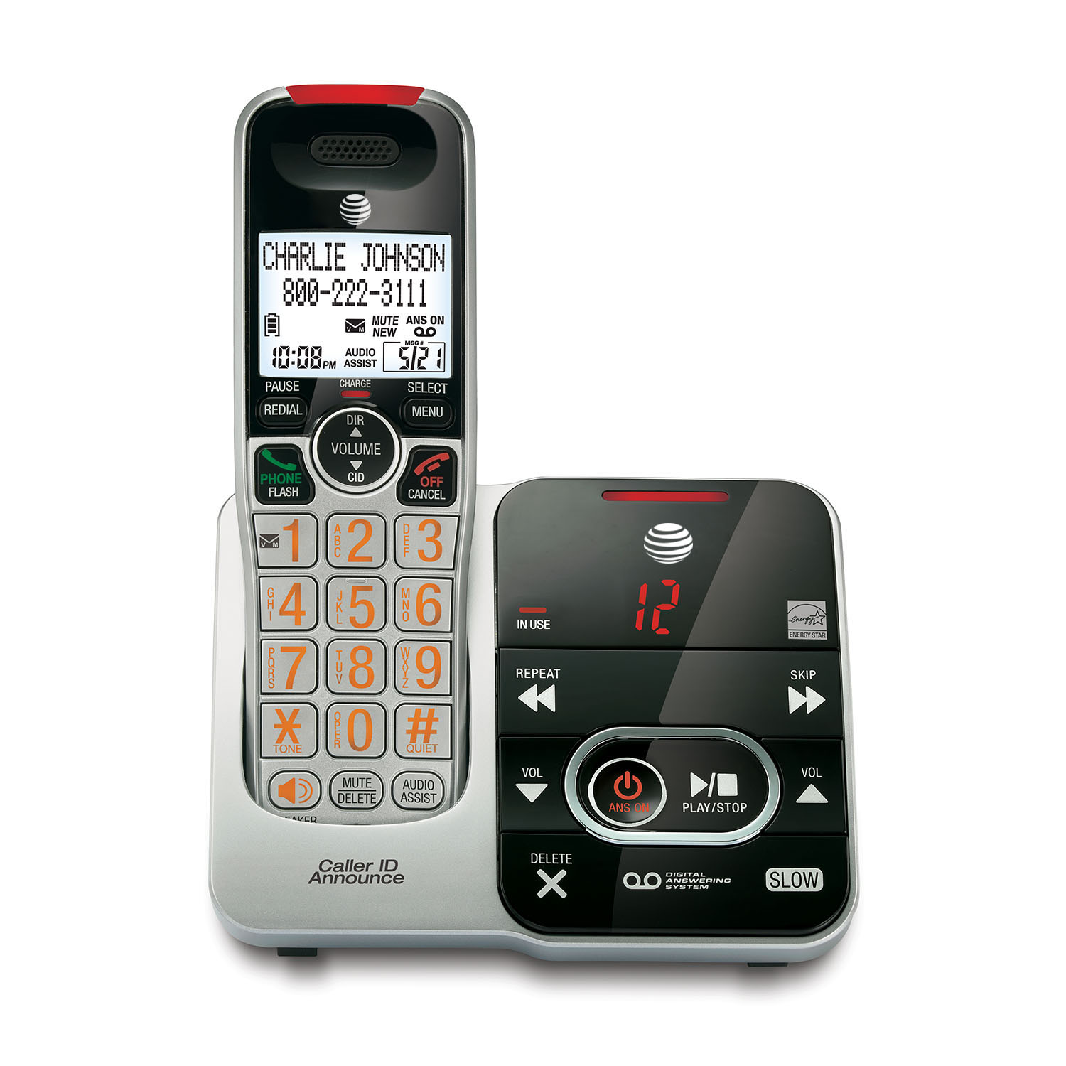 AT&T CRL32102 DECT 6.0 Big-Button Cordless Phone System With Digital Answering System & Caller ID