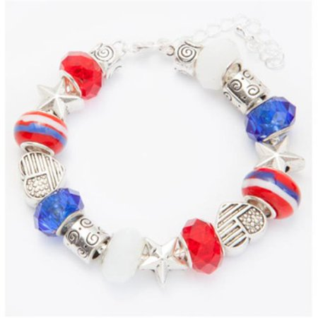 Stars & Stripes Glass Bead Bracelet - image 1 de 1