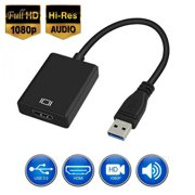 USB to HDMI Adapter, HD 1080P Video Audio Converter, USB 3.0 to HDMI Adapter Cable for Multiple Monitors, Support Windows XP/10/8.1/8/7 (Not Mac, Linux, Vista, Chrome, Firestick) (Black)