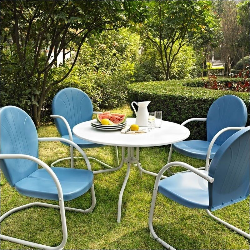 Pemberly Row 5 Piece Metal Patio Dining Set in Blue