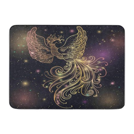 LADDKE Magic Space Firebird Stars Clipart Gold Glow and Ornate Filigree Boho Zentangle Doormat Floor Rug Bath Mat 30x18 inch