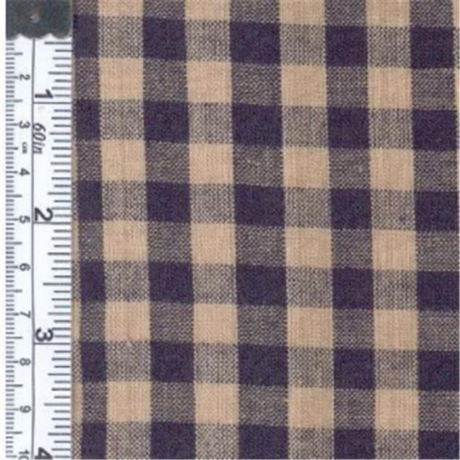 Textile Creations 110 Rustic Woven Fabric, 0.37 Check Navy And Natural, 15 yd.