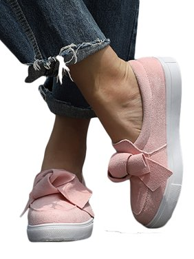Women's Bowknot Slip On Flat Shoes Pumps Trainers Loafers Size