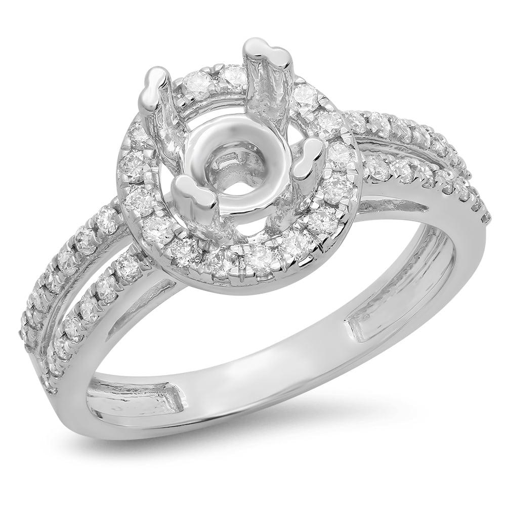 0.50 Carat (ctw) 14K Gold Round Diamond Ladies Split Shank Bridal Semi Mount Engagement Ring 1/2 CT