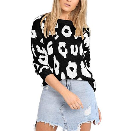 Women's Causal Long Sleeve Crew Neck Leopard Print Knitted Pullover Sweater