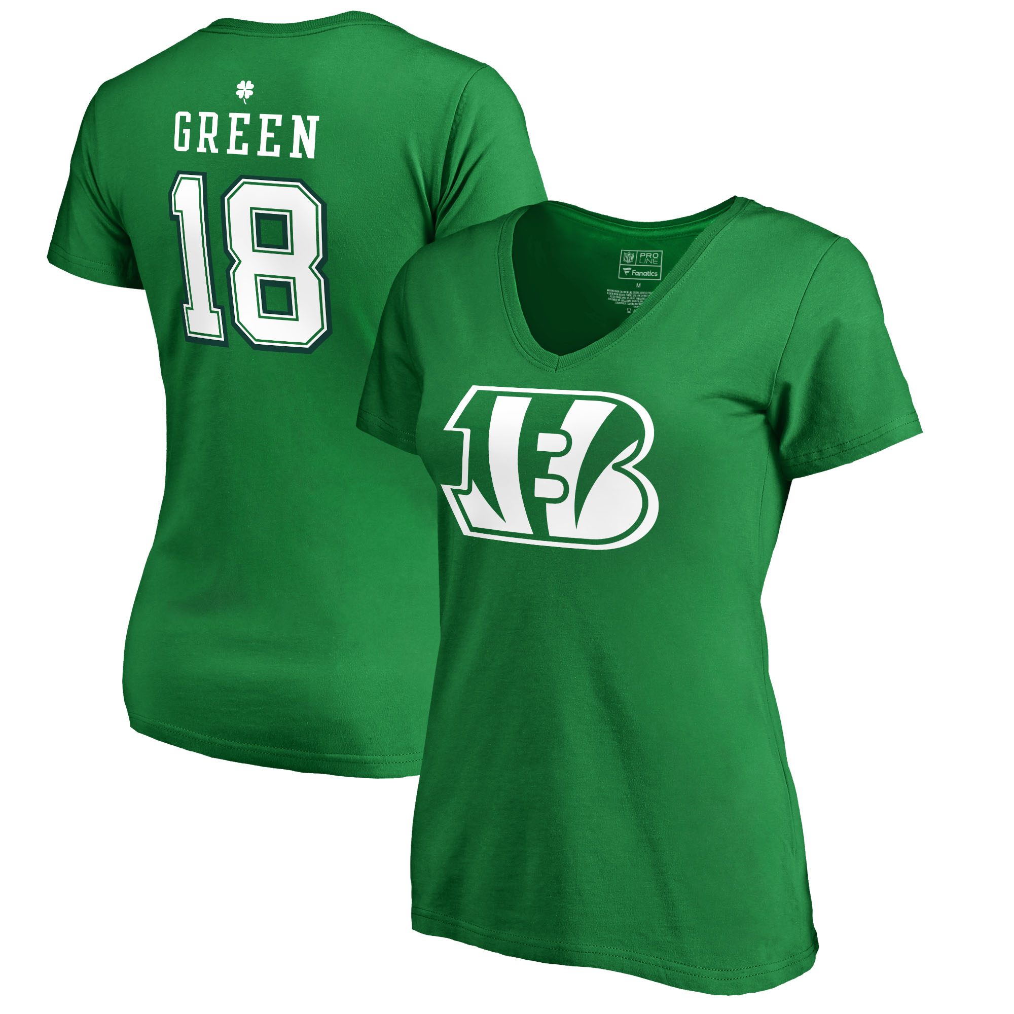 A.J. Green Cincinnati Bengals NFL Pro Line by Fanatics Branded Women's St. Patrick's Day Icon V-Neck Name & Number T-Shirt - Kelly Green