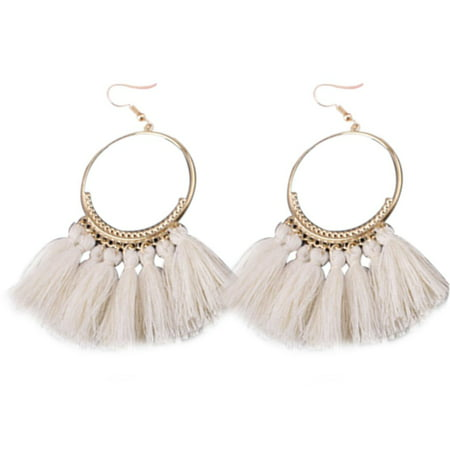 1 Pair Women Ethnic Bohemia Drop Dangle Long Rope Fringe Earings Girl Tassel Earrings Lady Fashion Bohe - Bamboo White Earrings