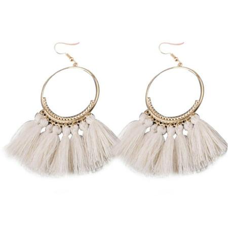 1 Pair Women Ethnic Bohemia Drop Dangle Long Rope Fringe Earings Girl Tassel Earrings Lady Fashion Bohe Jewelry Drops Dangles Earring Findings