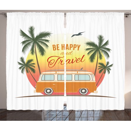 Surf Decor Curtains 2 Panels Set, Retro Surf Van With Palms Camping Relax Hippie Travel Be Happy Free Sixties Theme, Living Room Bedroom Accessories, By Ambesonne