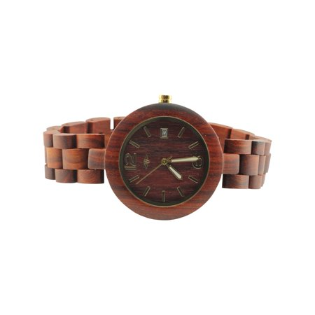 Angie Wood Creations Red Sandalwood Women's Watch with Luminous Gold Hands - image 1 de 7