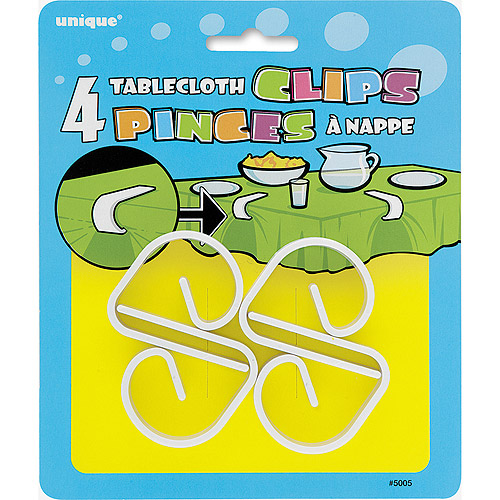 White Plastic Tablecloth Clips, 4ct