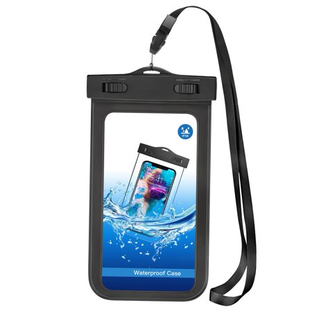 Waterproof Case Transparent Bag IPX8 Pouch Cover Touch Screen [Black] D6Q for Samsung Galaxy S6 Edge+ Edge S5 Active, On5 Note9 Note8, Note 5 4 3, J7 V (2017), Sky Pro, Perx, (2018) Refine,