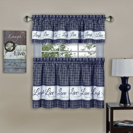 Gingham Check Live~Laugh~Love Complete 3 Pc. Kitchen Curtain Tier & Valance Set - Navy, 36 in. Long