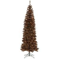 "Vickerman Artificial Christmas Tree 5.5' x 22"" Mocha Pencil LED 250 Warm White Lights"