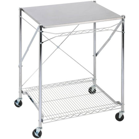 Honey Can Do Urban Stainless Steel Folding Work Table Cart With Wheels