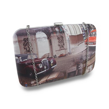 Cars On a French Boulevard Hardshell Clutch Purse w/Removable Chain
