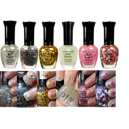 LWS LA Wholesale Store  KLEANCOLOR NAIL POLISH GLITTER HALF COLLECTION LOT OF 6 BEST COLORS! LACQUER (Best Place To Store Nail Polish)