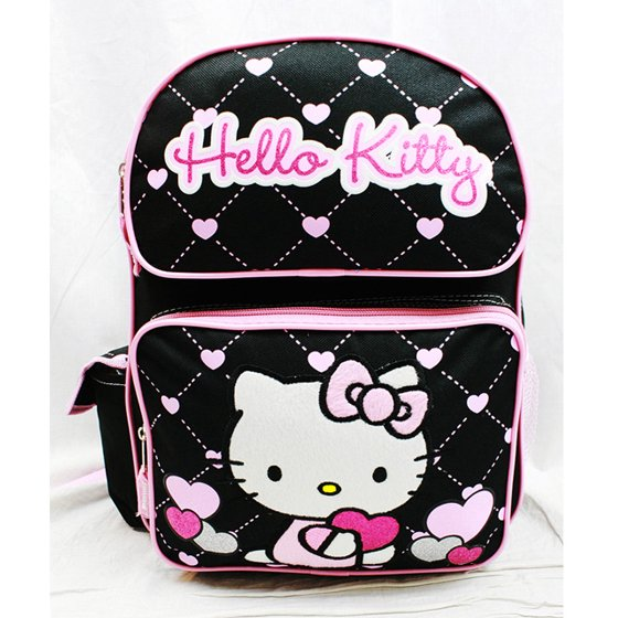 905b75d431 hello-kitty - Medium Backpack - - Glitter Heart Black School Bag 14 New  83072 - Walmart.com