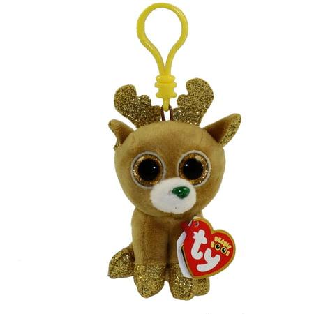 TY Beanie Boos - GLITZY the Reindeer (Glitter Eyes) (Plastic Key Clip) - Ty Keychains