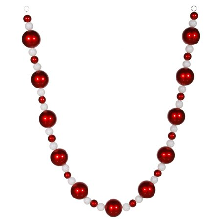 6' Peppermint Twist Red and White Glitter Shatterproof Christmas Ball Garland ()