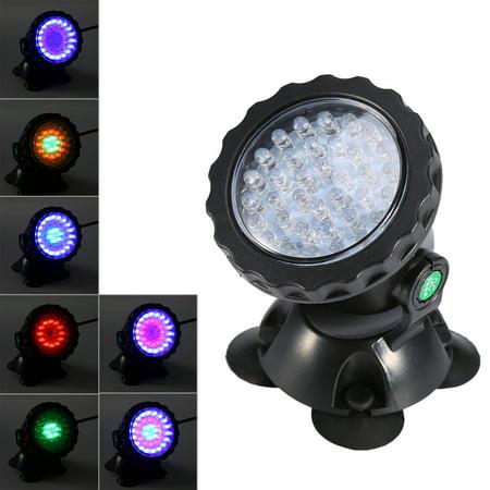 HURRISE 36 LED Submersible Color Change Waterproof LED Light For Aquarium Garden Pond Pool Tank Rockery