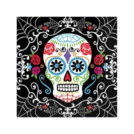 Day of the Dead Beverage Napkins (36 Pack) - Halloween Party Supplies - Halloween Party Day
