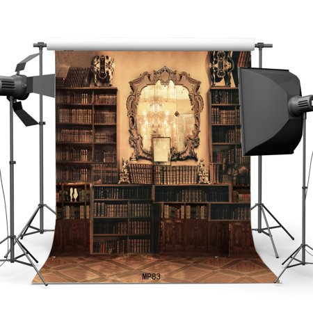 GreenDecor Polyester 5x7ft Bookshelf Backdrop Vintage Bookcase Library Magic Books Indoor Study Room Crystal Droplight Mirror Fantasy Photography Background Kid](Room Background)