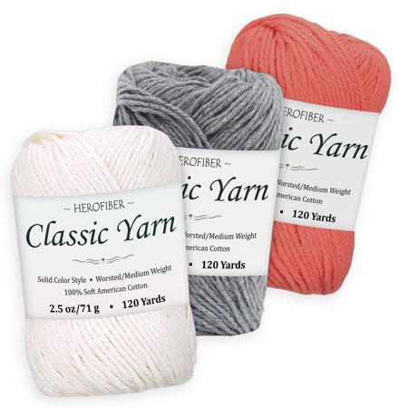 Cotton Yarn - 3 Solid Colors [2 5 oz Each] - White Coconut